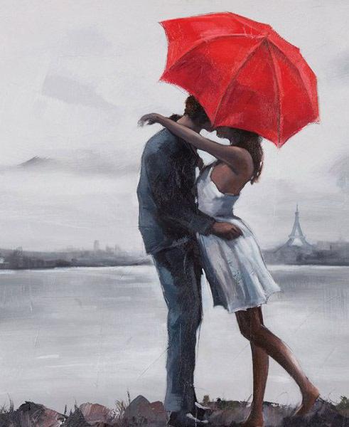 "РН GХ8605 ""Поцелуй под красным зонтом"", 40х50 см"