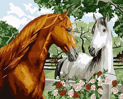 """РН GX9040 """"Коричневый конь и белая лошадь"""", 40х50 см"""