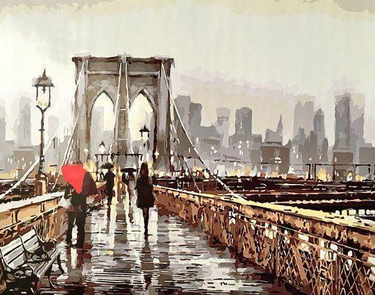 """РН GX8604 """"Пара под зонтом на мосту"""", 40х50 см"""