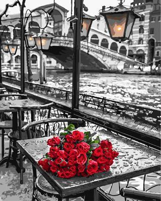 """РН GX9754 """"Красные розы на сером столе"""", 40х50 см"""