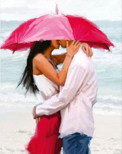 """РН GХ3037 """"Пара под красным зонтом на берегу моря"""", 40х50 см"""