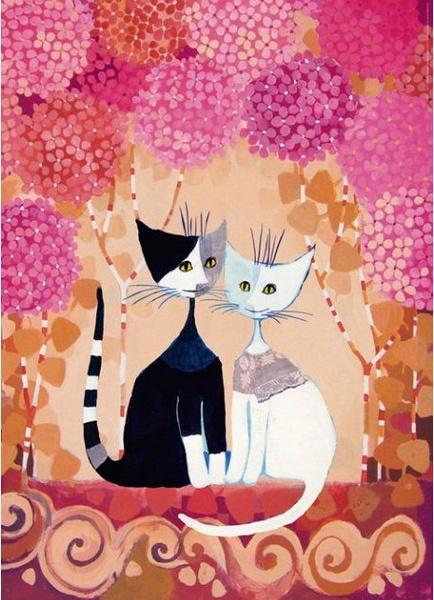 """РН GХ9897 """"Две кошки на розовом фоне"""", 40х50 см"""