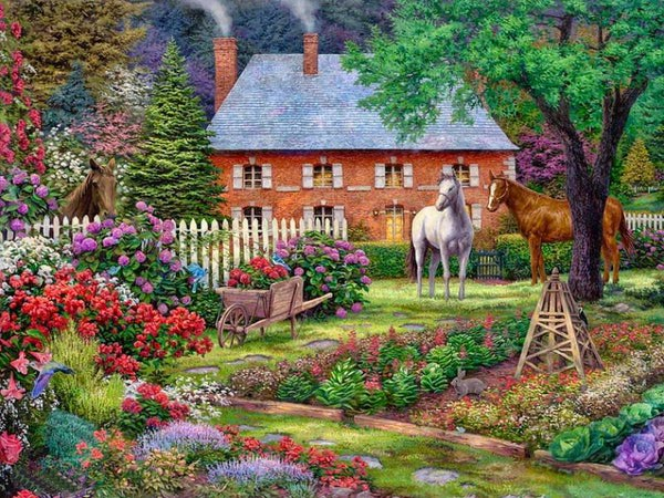 "РН GХ9944 ""Домик, три лошади, тележка"", 40х50 см"