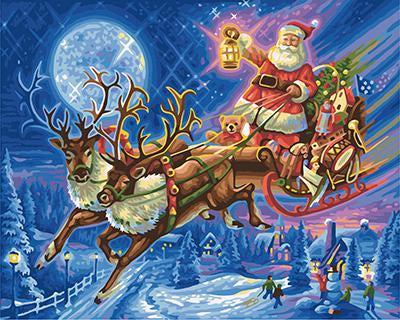 """РН GХ9208 """"Дед Мороз на оленях"""", 40х50 см"""