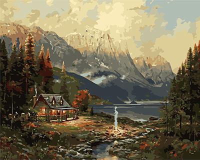 "РН GХ3409 ""Домик у озера в горах"", 40х50 см"