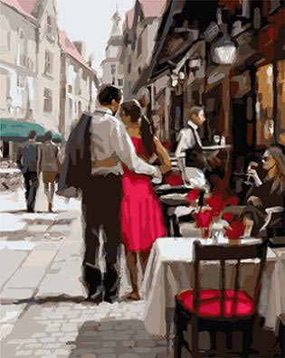 """РН GХ3562 """"Пара около уличного кафе"""", 40х50 см"""