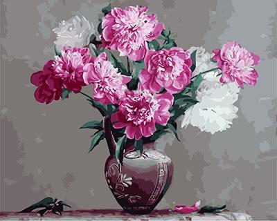 """РН GХ3592 """"Розовые и белые цветы в резной вазе"""", 40х50 см"""