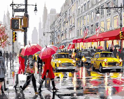 """РН GХ3688 """"Люди с красными зонтами, желтые такси"""", 40х50 см"""