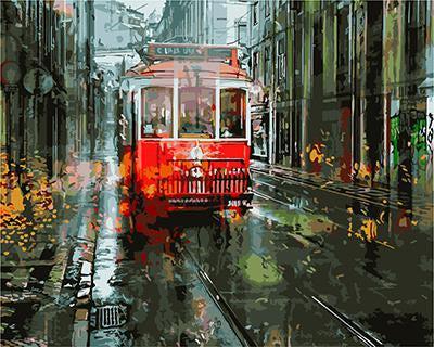 "РН GХ3691 ""Красный трамвай на осенней улице"", 40х50 см"