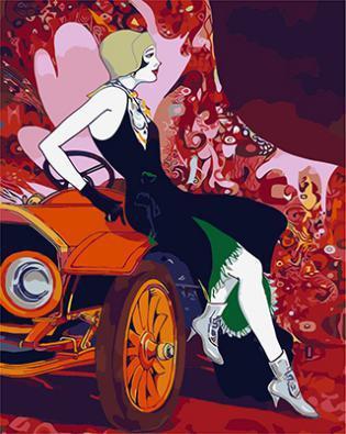 """РН GХ9881 """"Девушка сидит на машине"""" , 40х50 см"""