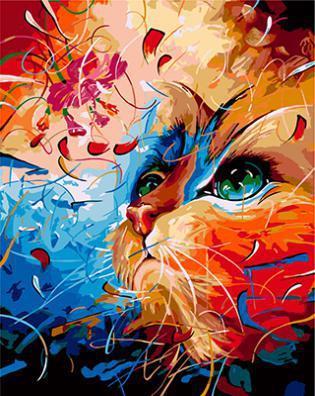 """РН GХ3949 """"Цветная кошка смотрит вверх"""" , 40х50 см"""