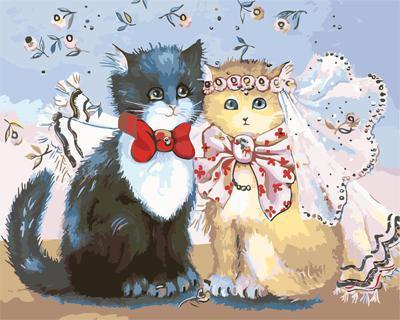"""РН GХ4125 """"Коты - жених и невеста"""" , 40х50 см"""