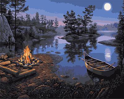 "РН GХ4241 ""Лодка и костер на берегу реки"" , 40х50 см"