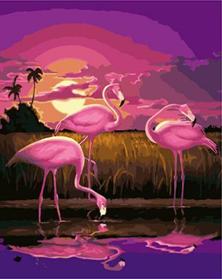 "РН GХ4280 ""Три фламинго на закате"" , 40х50 см"