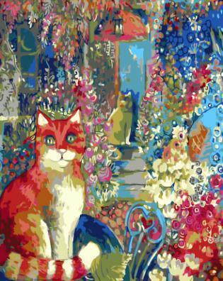 """РН GХ4290 """"Рыжая кошка в углу картины"""" , 40х50 см"""