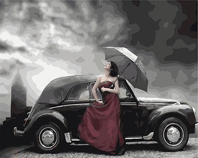 """РН GХ4336 """"Девушка у черного авто с зонтом"""" , 40х50 см"""