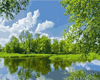 """РН GХ4218 """"Пруд, деревья, облака"""" , 40х50 см"""