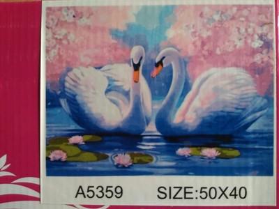 """АРС45 А5359 """"Два лебедя на фоне сакуры"""", 40х50 см"""