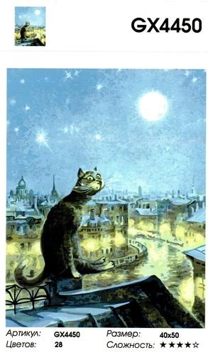 """РН GХ4450 """"Кот на крыше лунной ночью"""" , 40х50 см"""