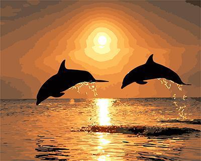 "РН GХ4496 ""Два дельфина на закате"" , 40х50 см"