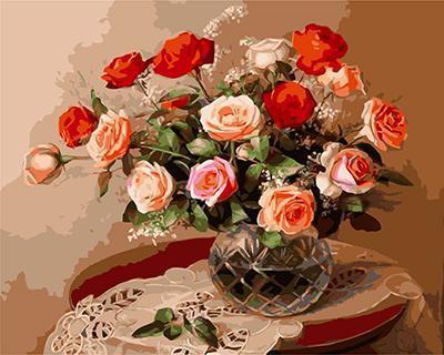 """РН GХ5728 """"Розы в клетчатой вазе"""" , 40х50 см"""