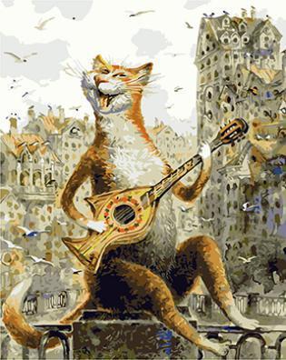 "РН GХ4554 ""Кот играет на гитаре-рыбе"" , 40х50 см"