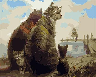 """РН GХ4559 """"Кошачья семья ждет улов"""" , 40х50 см"""