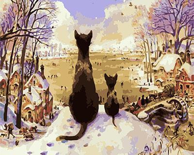 "РН GХ4564 ""Кошка с котенком созерцают суету"" , 40х50 см"