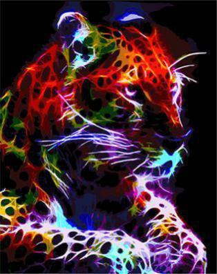 """РН GХ4574 """"Неоновый леопард лежит на лапах"""" , 40х50 см"""