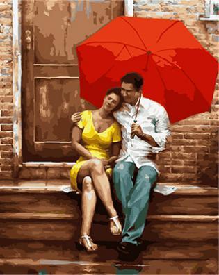 """РН GХ4697 """"Пара под красным зонтом на крыльце"""" , 40х50 см"""