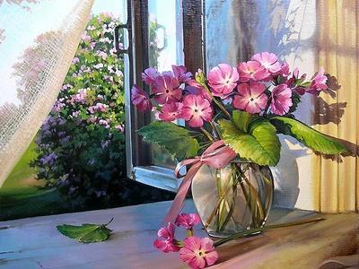 "РН GХ5200 ""Розовые цветы в вазе на подоконнике"", 40х50 см"