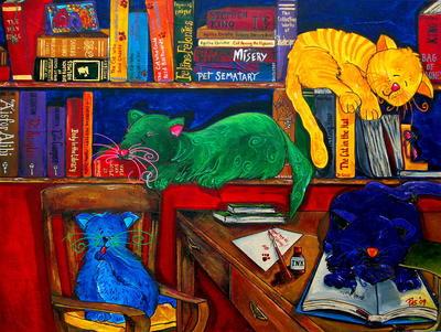 """РН GХ5262 """"Разноцветные коты в библиотеке"""", 40х50 см"""