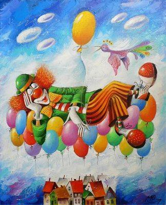 "РН GХ5265 ""Клоун спит на воздушных шариках"", 40х50 см"