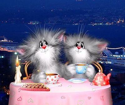 "РН GХ5292 ""Кошачья пара за розовым столом"", 40х50 см"