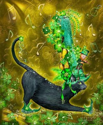 """РН GХ5298 """"Кот в зеленой шляпе с нотами"""", 40х50 см"""