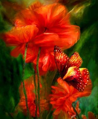 """РН GХ5415 """"Красные маки и бабочка"""", 40х50 см"""