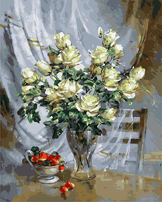 "РН GХ4727 ""Белые розы и клубника"", 40х50 см"
