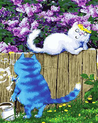 """РН GХ4750 """"Белая кошка на заборе и синий кот"""", 40х50 см"""