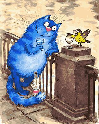 "РН GХ4753 ""Синий кот пьет с воробьем"", 40х50 см"