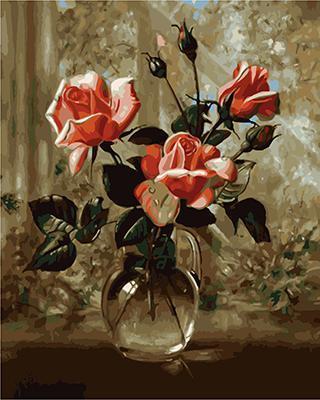 """РН GХ4767 """"Три розы в прозрачной вазе"""", 40х50 см"""