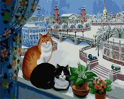 "РН GХ4781 ""Два кота на подоконнике зимой"", 40х50 см"