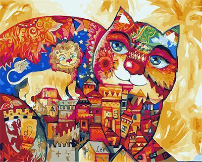 """РН GХ4793 """"Цветная кошка и лев"""", 40х50 см"""
