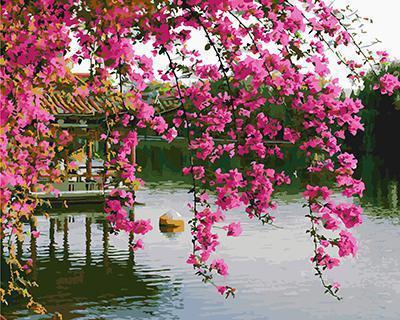 """РН GХ4840 """"Розовые цветы над беседкой в озере"""", 40х50 см"""