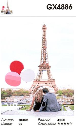 "РН GХ4886 ""Пара с шарами на фоне Эйфелевой башни"", 40х50 см"