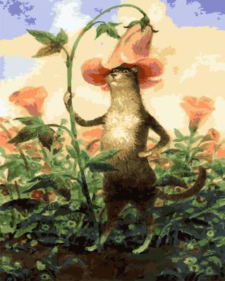 """РН GХ4933 """"Кот со шляпой из цветка"""", 40х50 см"""