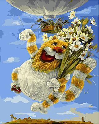 """РН GХ5043 """"Кот на воздушном шаре с ромашками"""", 40х50 см"""
