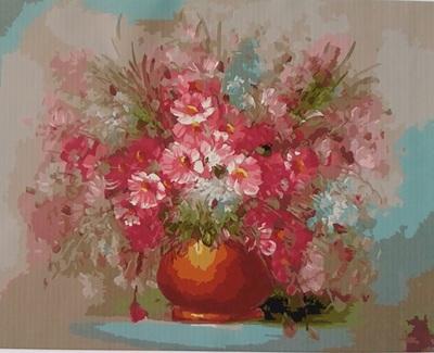 """РН GХ5056 """"Розовые цветы в коричневом горшке"""", 40х50 см"""