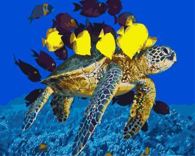 """РН GХ5152 """"Черепаха плывет с рыбами"""", 40х50 см"""
