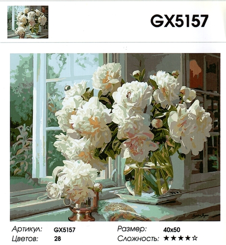 "РН GХ5157 ""Белые пионы на окне"", 40х50 см"