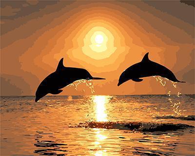 """АРМК34 """"Два дельфина на закате"""", 30х40 см"""
